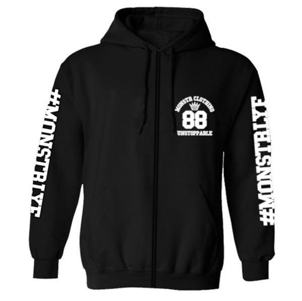 Monstr Bridge Zip Hoody '88' (Black/White)